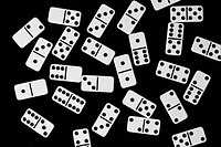 Dominoes lying down, front view, directly above