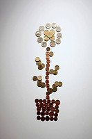 European Union coins arranged into a potted flower (thumbnail)