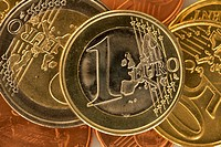 Close_up of various European Union coins