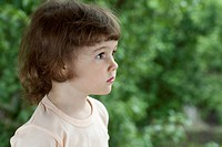 A young girl looking away