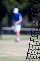 Tennis net and player