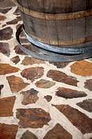 Barrel on paving stone floor