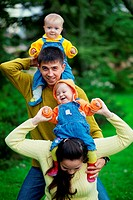 Happy parents with twins