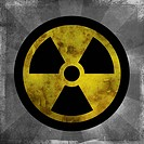 Nuclear sign with dark sun rays emanating from the symbol (thumbnail)
