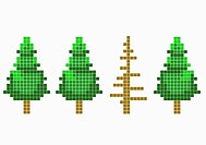 8_bit style trees with one dead tree