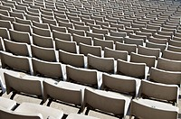 Rows of empty seats in sport stadium