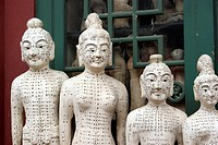 Acupuncture statues at Panjiayuan Antique Market, Beijing, China