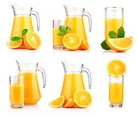 Set of jugs and glasses of orange juice with fruits isolated