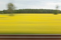 A rural landscape in blurred motion viewed from a moving train