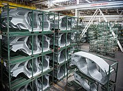 Car body parts in car factory