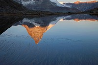 The Matterhorn mirrored in Riffelsee lake