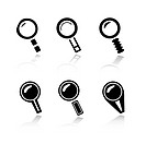 Set of 6 magnifier icons