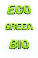 the word green , eco and bio in 3d fonts