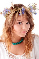 Teen girl in summer wreath