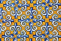 Ceramic tiles in yellow and blue