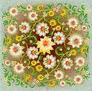 abstract grunge floral ornament with flowers