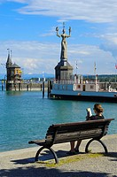Konstanz, Constance, Imperia statue, Constance Harbor, Bodensee, Lake constance, Baden-Wuerttemberg, Germany, Europe.