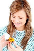 Ill young woman holding pills