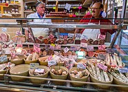 Paris, France, French Butchers in French Farmers Market, Covered Hall, March&#233; Saint Quentin