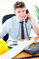 Attractive businessman in front of his desk