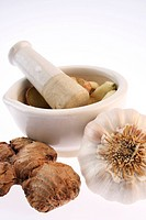 Ginger and garlic by a mortar with pestle