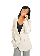 Beautiful black businesswoman on phone