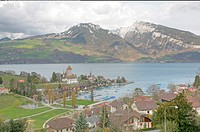 Spiez town with the castle on lake Thun Jungfrau region, canton