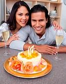Elegant man and his wife celebrating his birthday