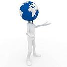 3d man with globe