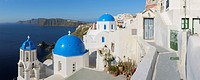 Greece, View of whitewashed church and bell tower at Oia (thumbnail)