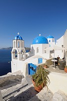 Greece, View of whitewashed church and bell tower at Oia