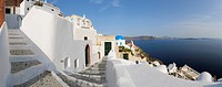 Greece, View of Oia village with cobbled path at Santorini