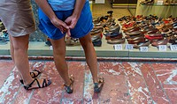Perpignan, France, Women Window Shopping, Women's Shoes Shop