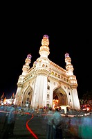 Low angle view of Charminar at night