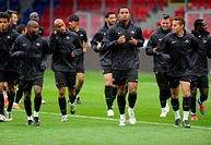 Academica Coimbra players run during a training session in Plzen, Czech Republic, Wednesday, September 19, 2012 Coimbra will face Viktoria Plzen in a ...