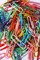 Colourful paper clips, close up