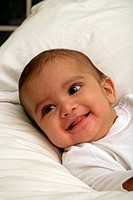 Close up of a smiling baby