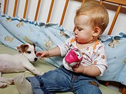 Baby girl, small child and dog pet, animal CTK Photo/Martin Sterba, Josef Horazny MODEL RELEASED