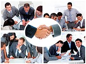 Collage of businesspeople working together