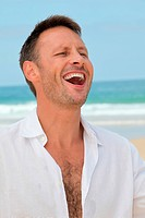 Closeup of man laughing outloud