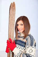 woman with old wooden skis