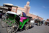 Horse and carriage, Place Jemaa El Fna, Marrakesh, Morocco, North Africa, Africa