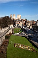 York Minster from the City Walls, York, Yorkshire, England