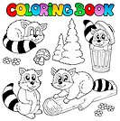 Coloring book with cute racoons