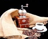 vintage coffee grinder and fresh coffee