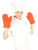 female cook in kitchen gloves
