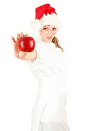 Santa female cook with red apple