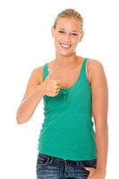 Happy young blond woman gesturing OK.