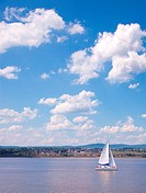 Sailing Boat on the St_Lawrence River near Quebec City