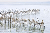 view of some fishing nets on standing water in La Albufera, Valencia, Spain